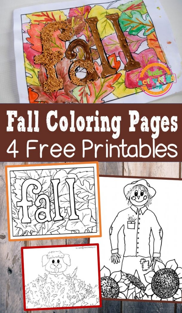 free fall coloring pages for kids -- 4 printables to download & print