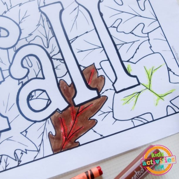 crayon relief technique for painting and coloring fall sheets