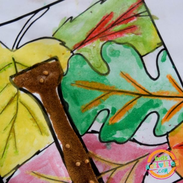 Painting relief technique on fall coloring pages for kids art project