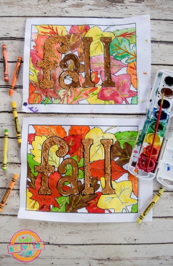 finished fall coloring pages in variation of techniques