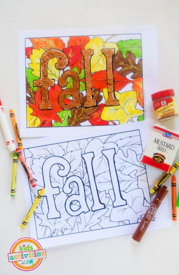 Fall coloring pages with coloring art supplies like crayons, markers and seeds