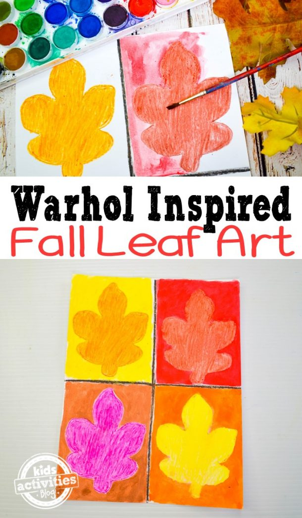 Warhol inspired fall leaf art with 4 leaves with red, orange, pink, and red.