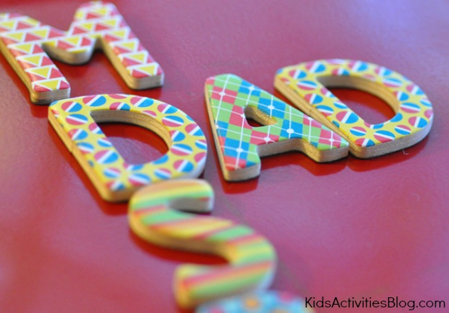 children's rhymes using foam letters.