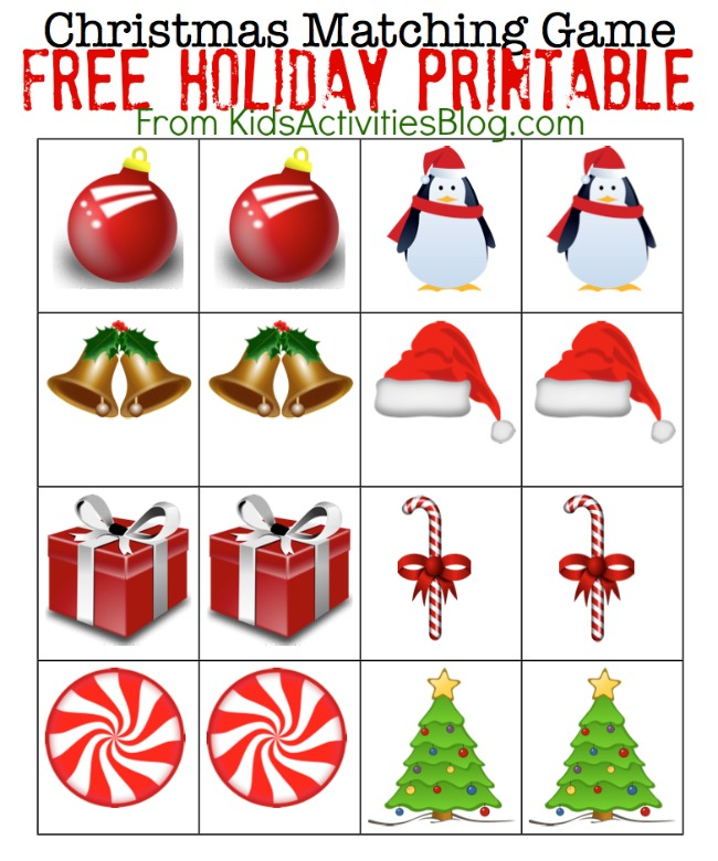 Printable Christmas Games - printable memory game for preschoolers with Christmas theme - Christmas balls, bells, penguins, hats, presents, candy canes, red swirl candy and Christmas trees