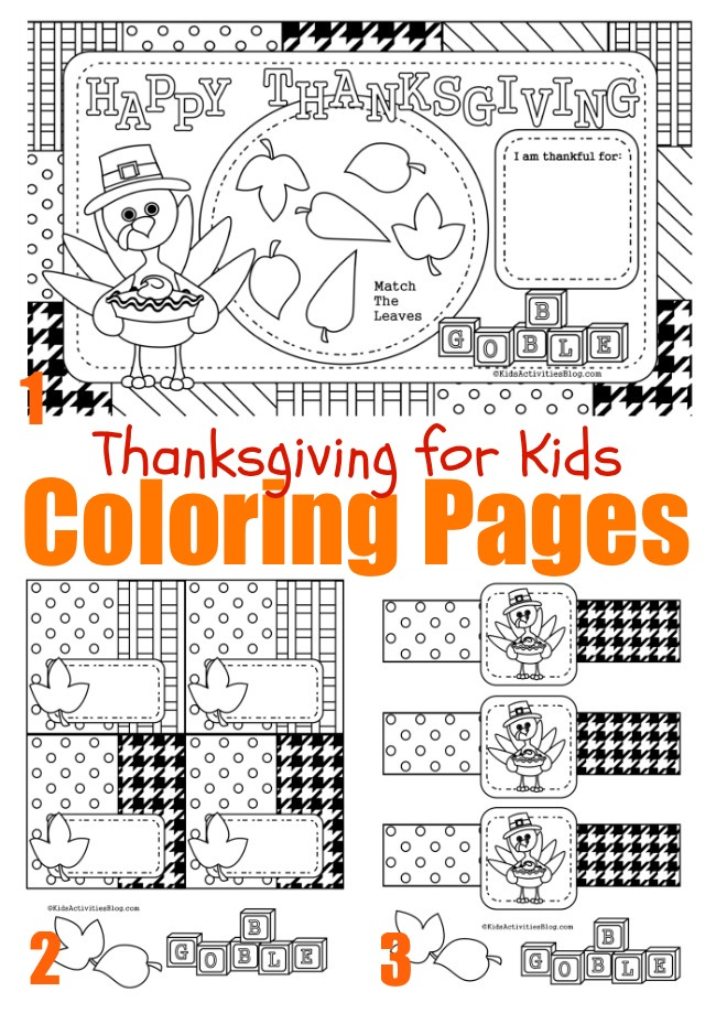 Thanksgiving Coloring Pages - Thanksgiving Placemats to color, napkin rings and more
