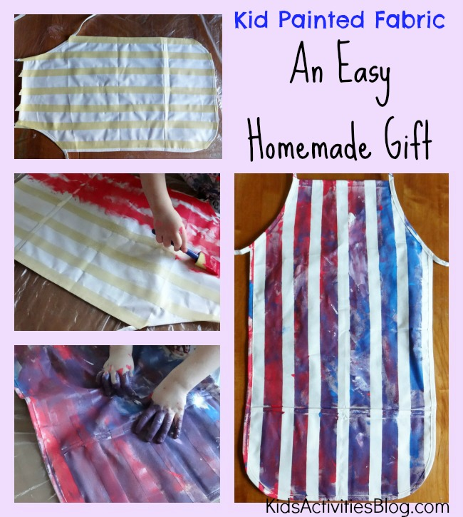 Here is another fabric paint shirt idea, using tape to create white stripes as you paint the space in between on an apron.