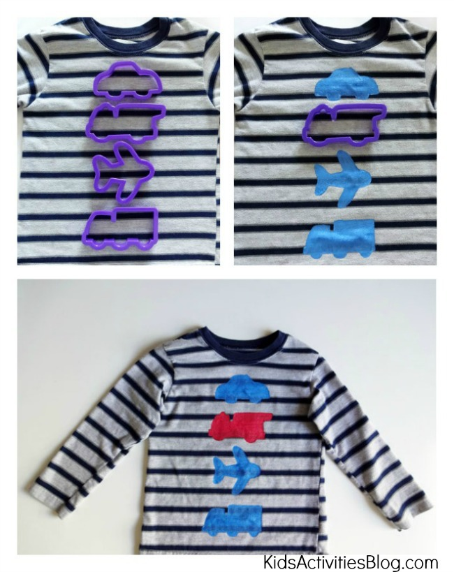 Using cookie cutters on a striped shirt to make homemade christmas shirt designs