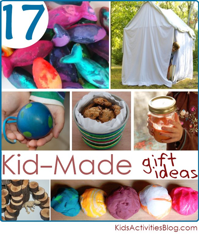 17 Homemade Christmas gift ideas for Kids to Create - ideas include homemade crayons, tents, cookies and play dough