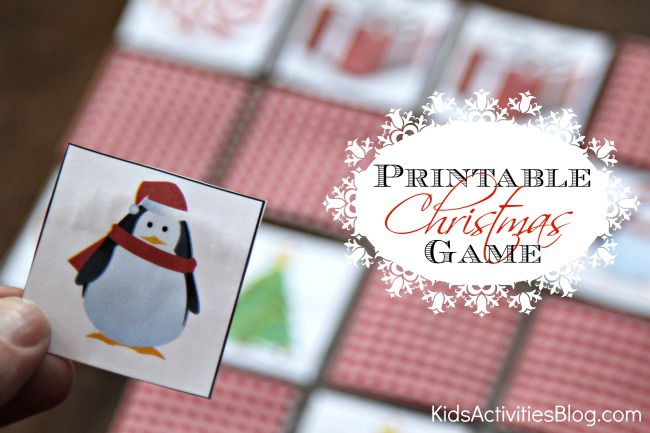 Printable Christmas game with Christmas cards with a penguin in a hat and Christmas tree.