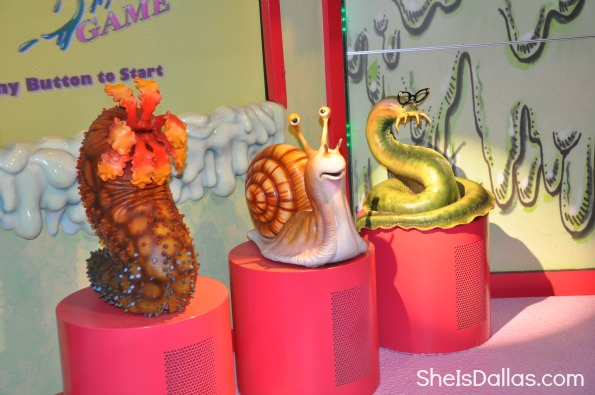 slime game from Grossology Science Exhibit in Dallas shown is snail