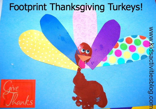 thanksgiving craft that looks like a turkey using brown paint on the food, and colorful paper for the feathers like yellow, blue, pink textured paper, purple, and polka dots. The turkey also has an orange beak and googly eyes.