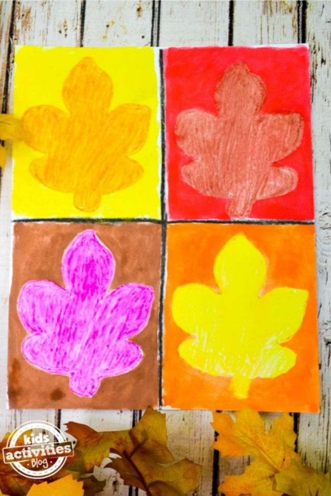 40 Thanksgiving Activities for 5 Year Olds- These Warhol inspired fall art for toddlers are easy to make, bright, and colorful.