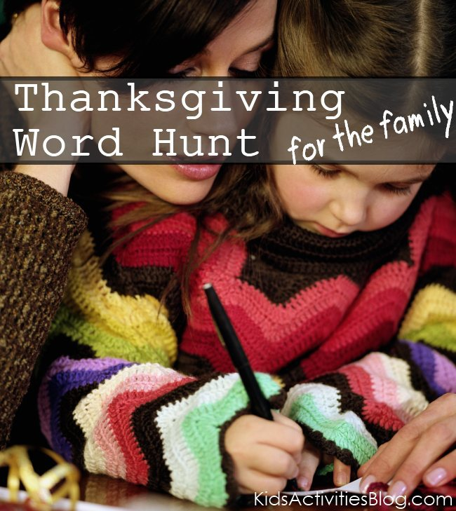 Thanksgiving word hunt for the family
