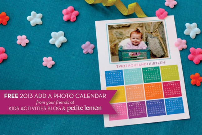 2013 printable calendar to add a photo of YOUR child from Kids Activities Blog designed by Petite Lemon