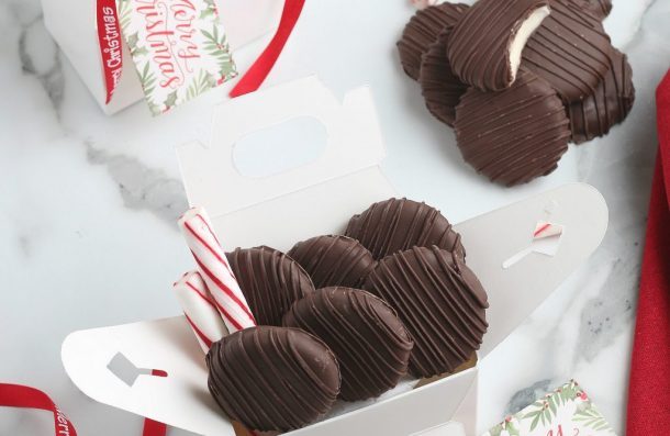 Homemade peppermint patties make great gifts when packaged in a box