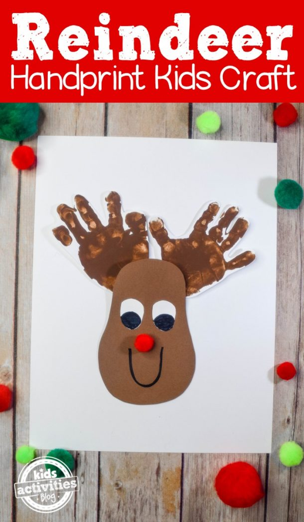 Reindeer handprint craft - Rudolph with red nose and handprint antlers