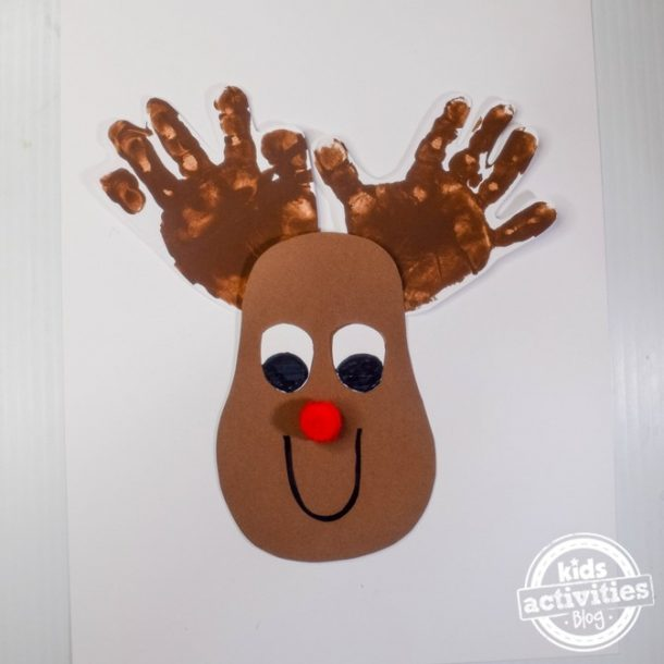 Rudolph the Reindeer Handprints Christmas Craft Kids Activity