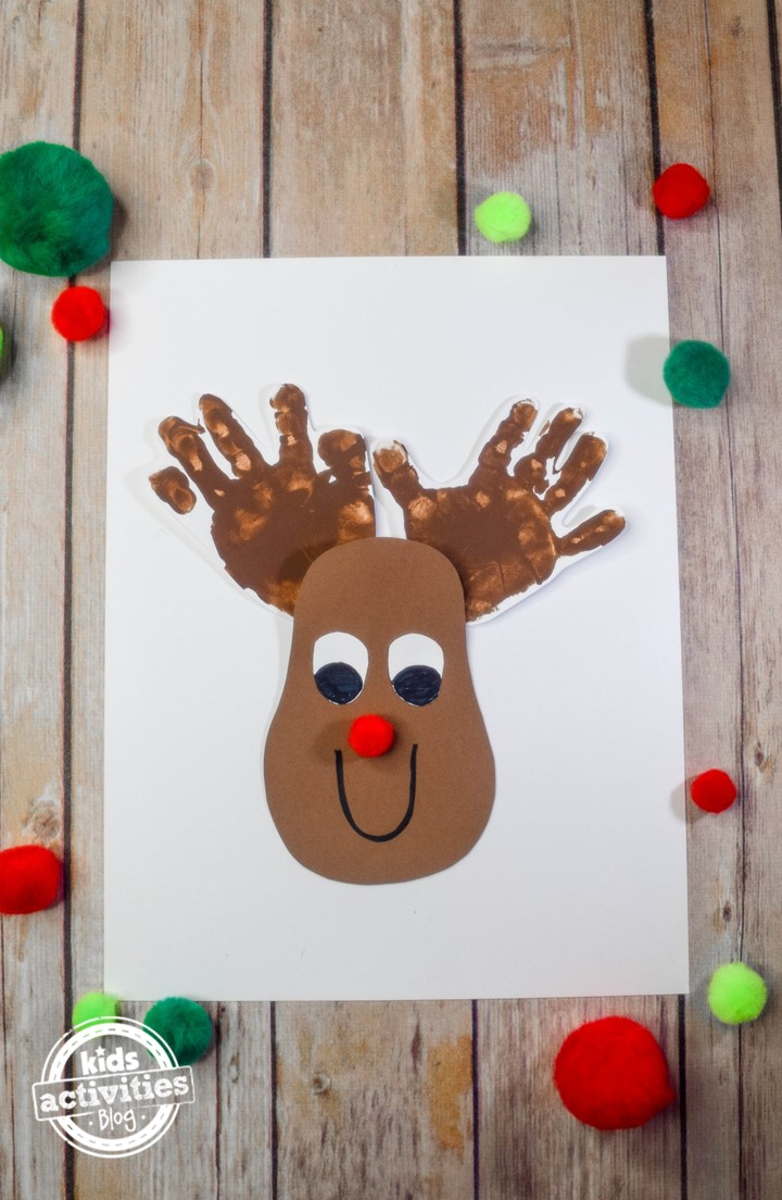Cutest Christmas Reindeer Handprint Craft With Rudolph S Red Nose