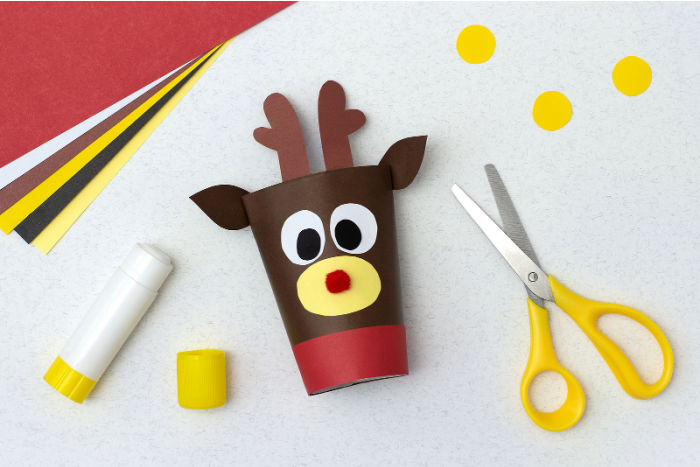 Rudolph the Red Nosed Reindeer made out of toilet paper rolls