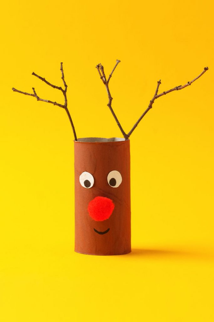 Toilet Paper Roll Reindeer Crafts for Kids - Simple Rudolph with Sticks for Antlers