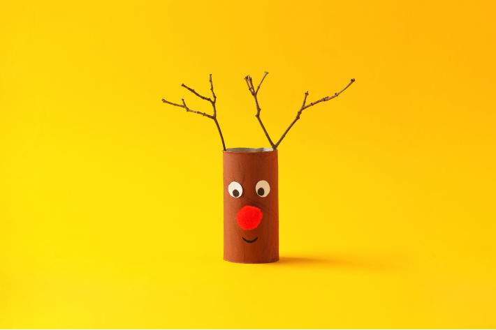 Toilet Paper Roll Rudolph Finished with Brown body and twigs