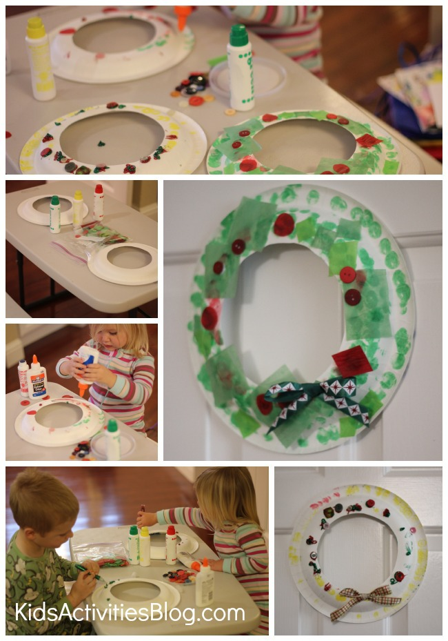 wreath craft ideas for kids using green paint, bows, red sequins and glue.