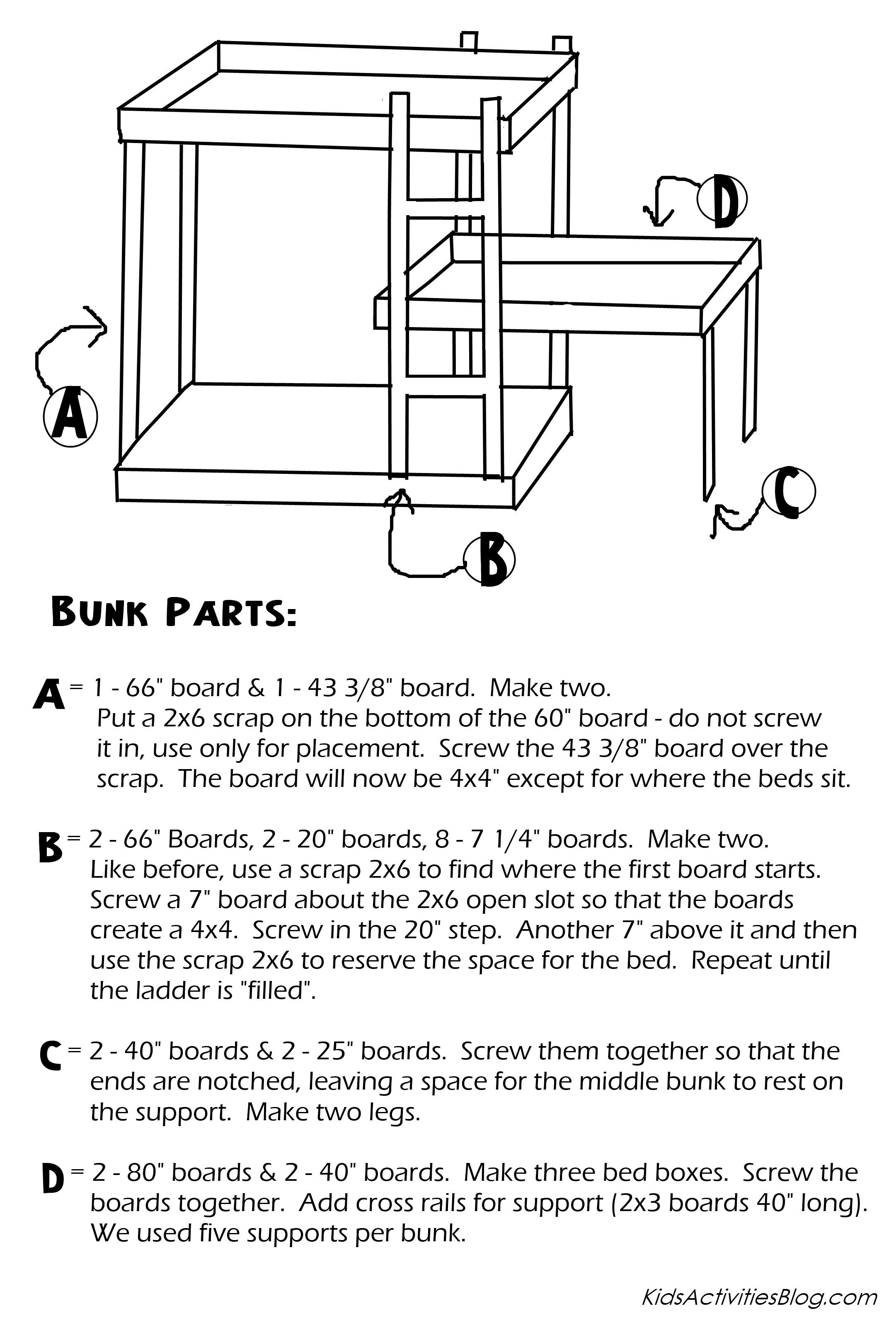 Picture of: Build A Bed Free Plans For Triple Bunk Beds
