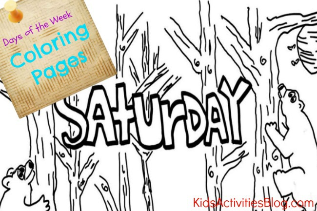 Saturday coloring page is the last in a series of daily coloring pages for kids