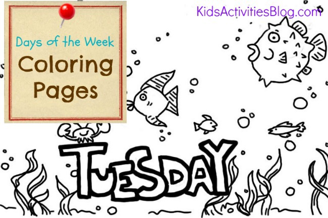 Tuesday coloring page - days of the week coloring sheets for kids from Kids Activities Blog