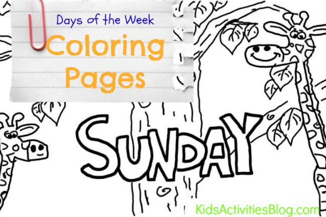 Sunday Learn The Days Of The Week With Your Kids Coloring Page