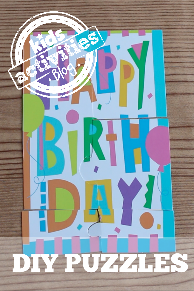DIY puzzle made with a happy birthday card.