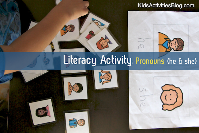 Great literacy activity for preschool kids for learning pronouns!