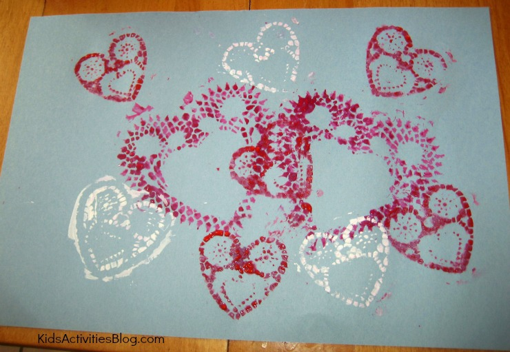 Here is an easy Valentine craft.  Printmaking for kids!
