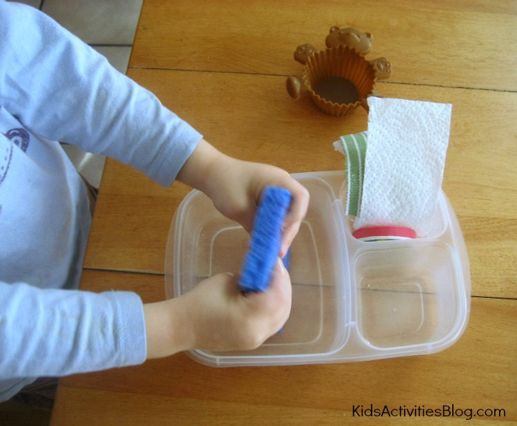 Hands on water absorption activity for kids - this is the testing area where the dry and wet were separated
