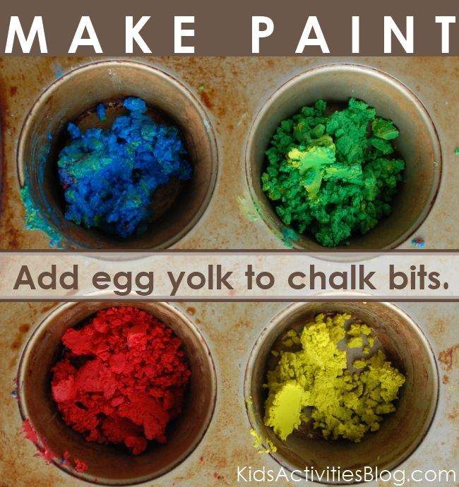 paint recipe - fun to make from chalk bits and egg yolk.