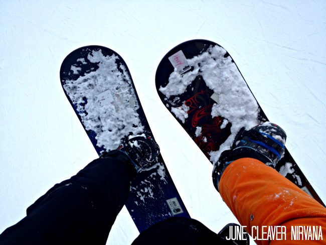 snowboards on lift