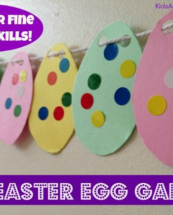 Easy Easter Craft for kids: Make a Garland of Easter Eggs {Great fine motor activity too!}
