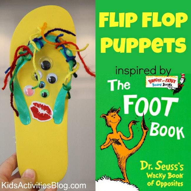 The Foot Book by Dr Seuss inspired this cute flip flop craft for kids