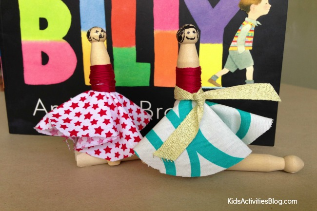 Silly Billy Book Activity: Kids can make wooden peg dolls