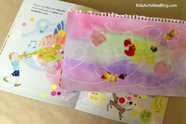 Beautiful wax resist art that was book inspired {from Here Comes Frankie!}