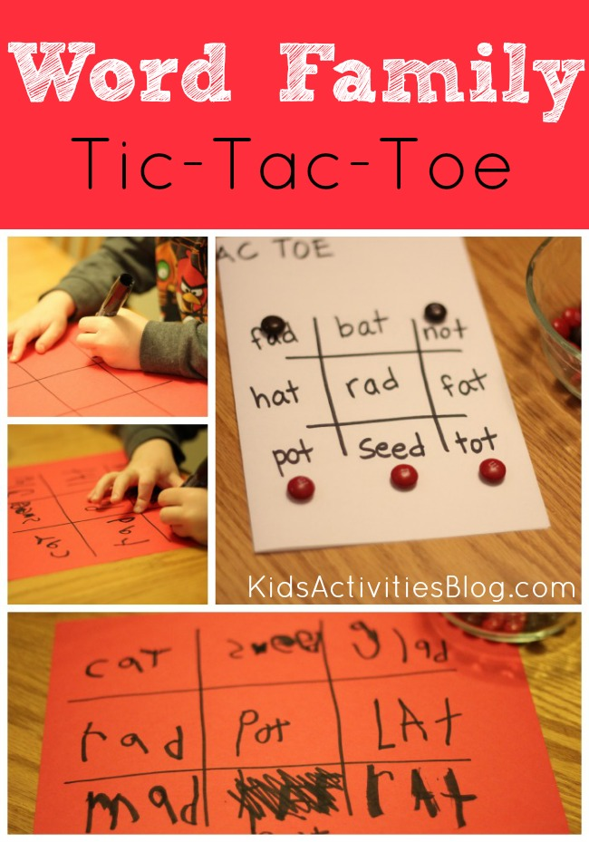 Here's a great Tic Tac Toe Reading game for kids learning to read