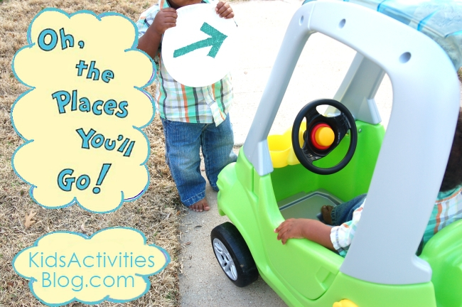oh the places you'll go - a car game for tots