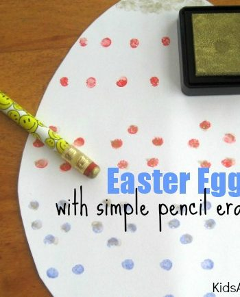 {Easter Egg Craft for Kids} Make an Egg to decorate with Simple Pencil Eraser Stamps