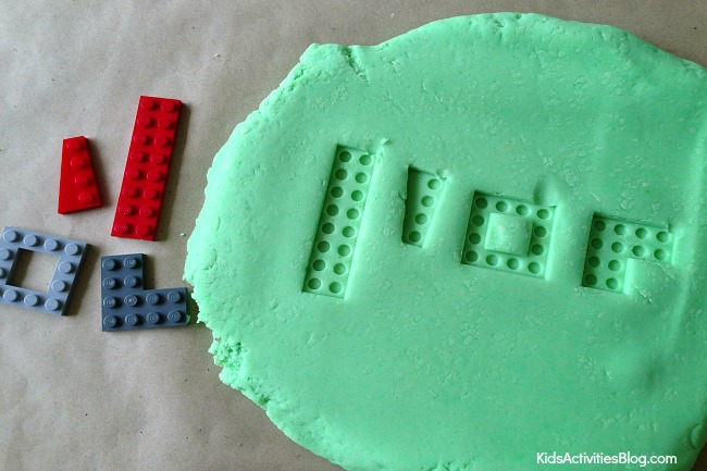 Make a LEGO puzzle for kids using play dough