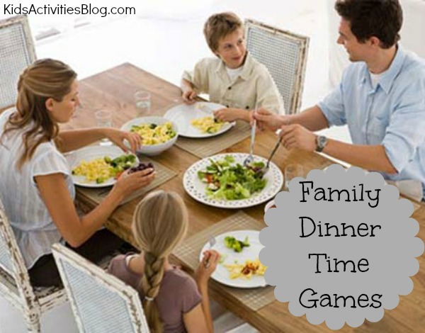 Kids love to play dinner games at the table {Family Game}