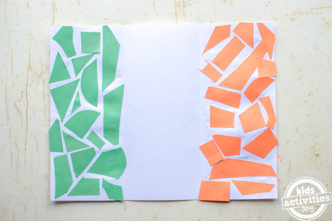 Finished Easy Irish Flag Craft for Kids - collage color of green on left and orange on right made of construction paper
