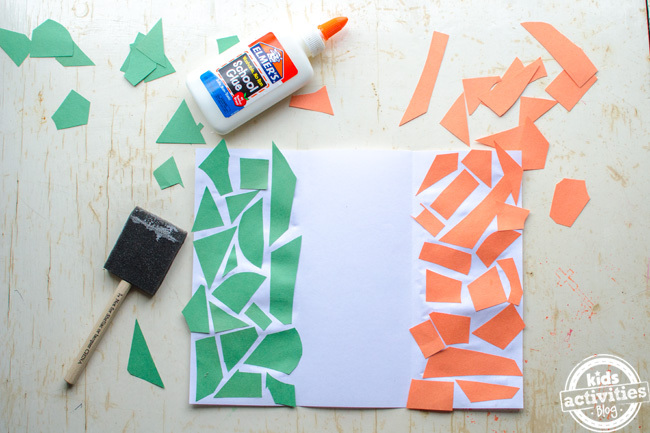 Irish flag craft for kids - step 5 place the colored pieces green on left and orange on right