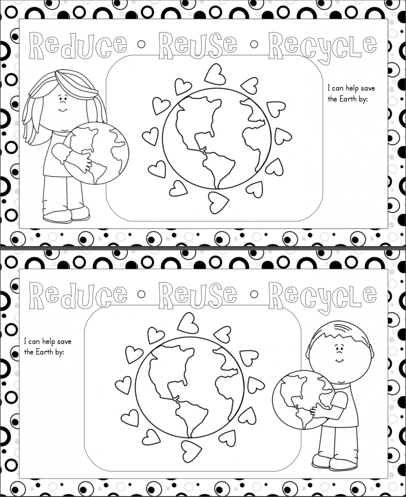 Earth Day Printable Place mats - black and white coloring pages