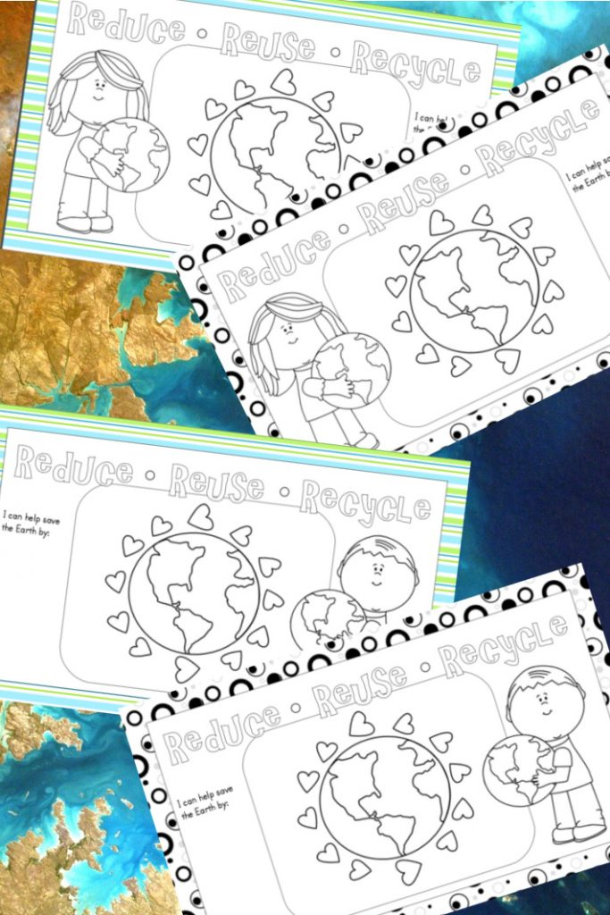 Earth Day printable placemat activity pages - Kids Activities Blog - pdf shown of 4 versions of placemat designs