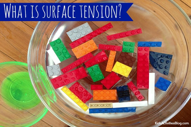 Surface tension experiments using liquid soap, bowls, and legos.